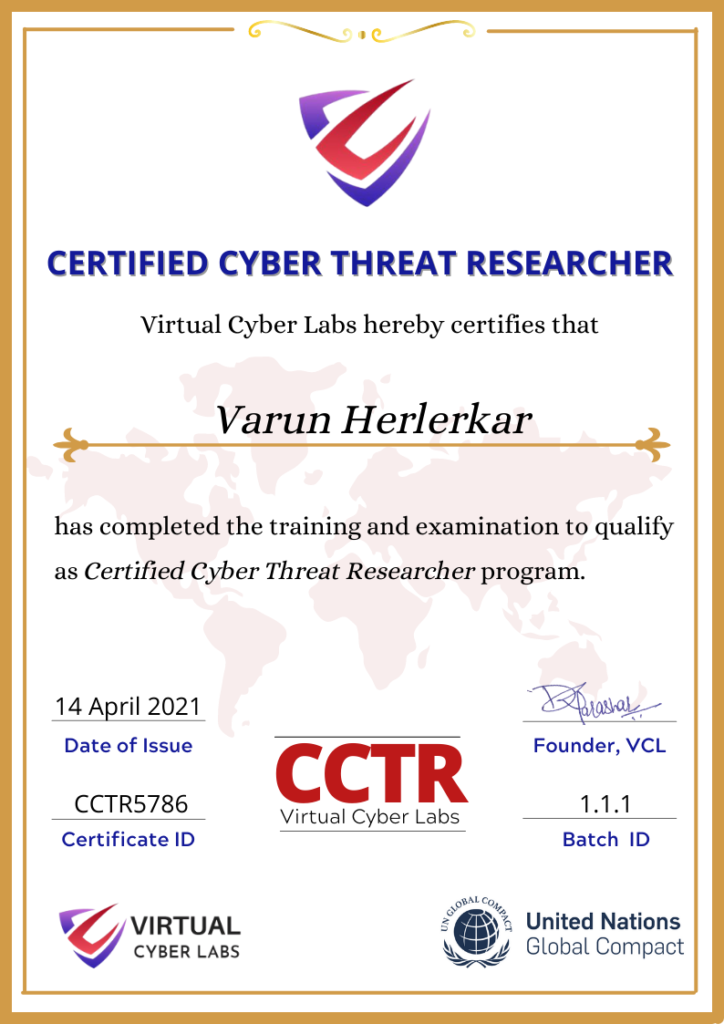 CCTR - VC Labs certificate
